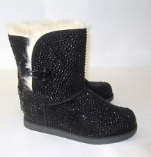 NEW LADIES Urban Glitter Black Rhinestones Winter Ankle Sexy Boot Size 9