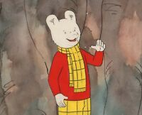RUPERT Bear Original Production Cel AND background Nelvana Tourtel Animation