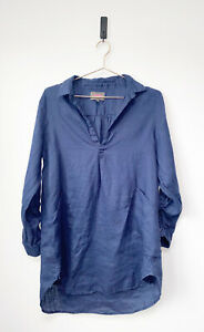 FORCYNTHIA BEACHWEAR Blue Linen Pullover Shirt Cover-up Callor Womens Size L