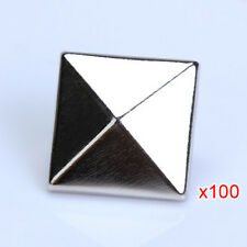 100PCS Pyramid Studs Rivets Spots Nickel Punk Bag Belt Leathercraft Silver HY