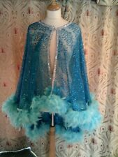 Drag Queen/Cabaret Turq Cape with Turq feathers ONE SIZE