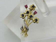 Red Ruby Diamond Flower Brooch Pin 14k Yellow White Gold Round Blue Sapphire