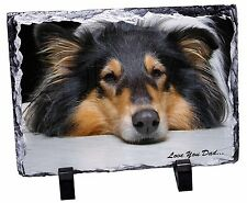 Rough Collie Dog 'Love You Dad' Photo Slate Christmas Gift Ornament, DAD-91SL