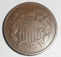 1868 TWO CENT PIECE A FINE COIN
