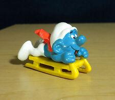 Smurfs Bobsled Super Smurf Sled Luge Vintage Figure PVC Toy Figurine Peyo 40201