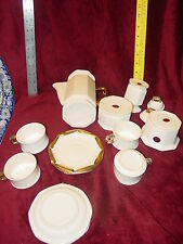 Royal Seal White Tea Set Porcelain Bisque 4 Cup Creamer Sugar Pot Candle Holder