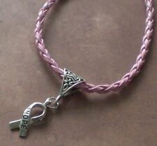 Hope Breast Cancer Awareness Ribbon Charm Pink Leather Charm Bracelet Survivor