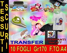 10 FOGLI A4 170 GR CARTA TRANSFER FOTO TESSUT SCURI STAMPANTI GETTO D'INCHIOSTRO