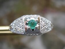 Art Deco & Vintage Carvings Sz6.75 .12ct Natural Emerald Ring / Sterling Silver,