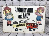 """Vintage 1960'S Raggedy Ann & Andy Bobbs-Merrill Toy Moving Co Sign Decor 24x15"""""""