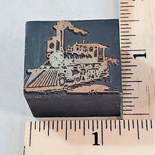 Vintage Copper Amp Wood Letterpress Print Block Cut Stamp Steam Engine Rr Pb25