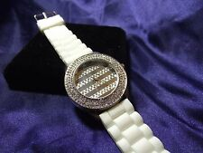 Woman's Oversized Quartz Watch with Crystals **Nice** B41-373