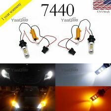42-SMD Error Free White and Amber 7440 T20 Switchback LED Bulbs Turn Signal DRL