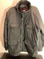 Vintage Woolrich Mens Size XL Wool Lined Parka Jacket Rain Winter Coat Gray USA