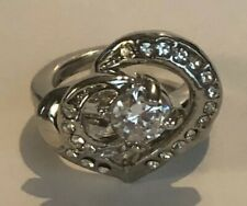STAINLESS STEEL CZ INSERT WEDDING OR COCKTAIL RING SIZE 4 SKU112498LR