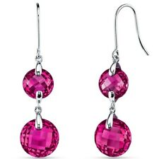 14k White Gold Round Cut 15.25 Cts Created Ruby Dangle Earrings