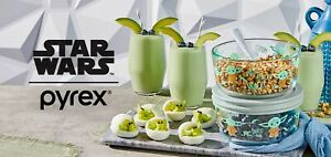 Pyrex Star Wars Baby Yoda Mandalorian 8 Pcs Set Decorated Glass Collectable