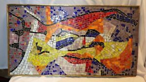 Vintage Large Mid Century Modern Retro MOSAIC TILE ART Signed by Artist