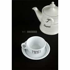Hand Painted White Tea Coffee Cup & Saucer 'Mine'