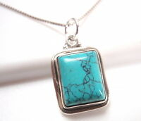 Turquoise Rectangle 925 Sterling Silver Pendant Corona Sun Jewelry