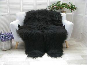 Real ICELANDIC QUAD Sheepskin Rug BLACK BROWN Throw Sofa Floor Bed Cover Q47