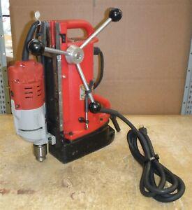 "LIGHT USE Milwaukee 4203 Magnetic Base & 4253-1 Drill Motor 1/2"" NICE! *bw12"