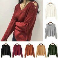 New Women's V-Neck Knitted Sweater Long Sleeve Loose Jumper Tops Knitwear