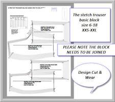 FASHION PATTERN BLOCK- STRETCH TROUSER BLOCK SIZES XXS  TO XXL SLOPER- DESIGNER