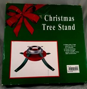 "Vintage Christmas Tree Stand Red & Green 4-Legs Steel Fit Up To 5"" diameter Tree"