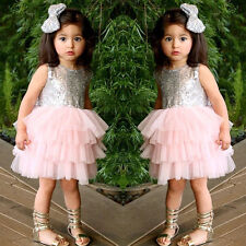 Kids Baby Girl Sequin Dress Bow Backless Formal Party Ball Bridesmaid Tutu Dress