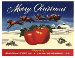 Merry Christmas Apple Crate Label Art Print. Yakima Washington Santa Claus