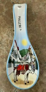 """HANDCRAFTED 'MALLORCA TAXI' CERAMIC SPOON REST KITCHEN DECOR 10""""H made in SPAIN"""