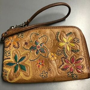 Fossil Bag Floral Brown Leather Zip Pouch Womens Casual Boho