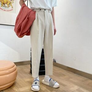 Men's Straight Pants Loose Casual Pants Trouser Formal Business Cotton Trousers