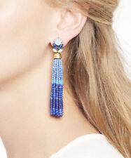 Bohemian Boho Crystal Rhinestone Blue Beads Gradient Tassel Long Earrings Drop