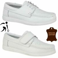Mens Womens Leather Lawn Bowling Trainers Lightweight Unisex White Bowls Shoes