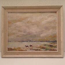 Tableau ancien Impressionniste proche Louis Fortuney chevaux en Camargue huile
