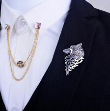 Vintage Fashion Wolf Badge Silver  Brooch Lapel Pin Men Shirt Suit Accessory