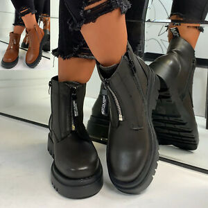 New Womens Front Zip Ankle Boots Casual Ladies Shoes Sizes 3-8