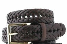 $125 Club Room Men'S Brown Braided Faux-Leather Gold-Buckle Dress Belt Size 36