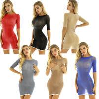 Sexy Women Transparent Mesh Bodycon Mini Dress Round Neck Stretch Sheer Lignerie