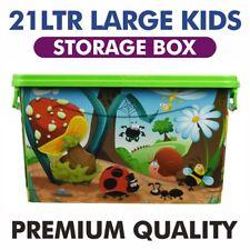 Boys Girls Kids Large Storage Toy Box Elite Clip Storage Box Green