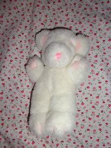 """Gund STITCH Plush Bear White Pink 1979 Rattle Rare 9"""" Baby Stuffed Animal"""