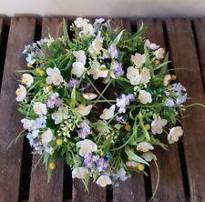 Printemps,Été,Couronne à Fleurs Anémone Vergissmeinnicht Blanc Violet 30cm Neuf