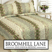 Brand New! Double Bed + Free Shams Shabby Chic Pink Green Floral Bedspread Throw