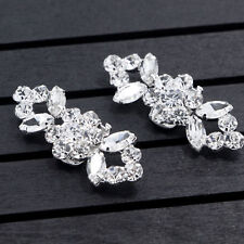 1 Pair Rhinestone Crystal Flower Shoe Clips Buckle Wedding Bridal Party Decor UK
