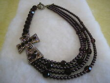 "HEIDI DAUS ""Divine Elegance"" (Aubergine) 20"" Long Cross Necklace (Orig.$249.95)"