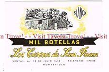 Unused 1940s URUGUAY Montevideo Cerros de San Juan Mil Botellas Wine Label