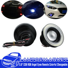 RGB Multi-Color 89mm COB LED Angel Eyes Halo Rings For Cars Headlights w/ Remote