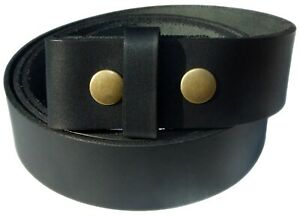 Mens Leather Belts Snap On Belt for Men full Grain Replacement No Buckle Q77